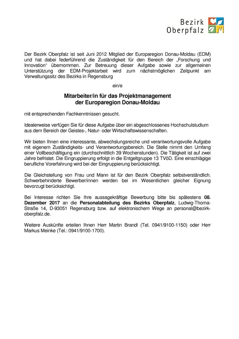 """Wissenschaftliche/r Mitarbeiter/in für das Projektmanagement der Europaregion Donau-Moldau - Schwerpunkt """"Wissensplattformen"""" (Hochschulabschluss Studium aus den Bereichen der Geistes-, Natur- oder Wirtschaftswissenschaften erwünscht)"""