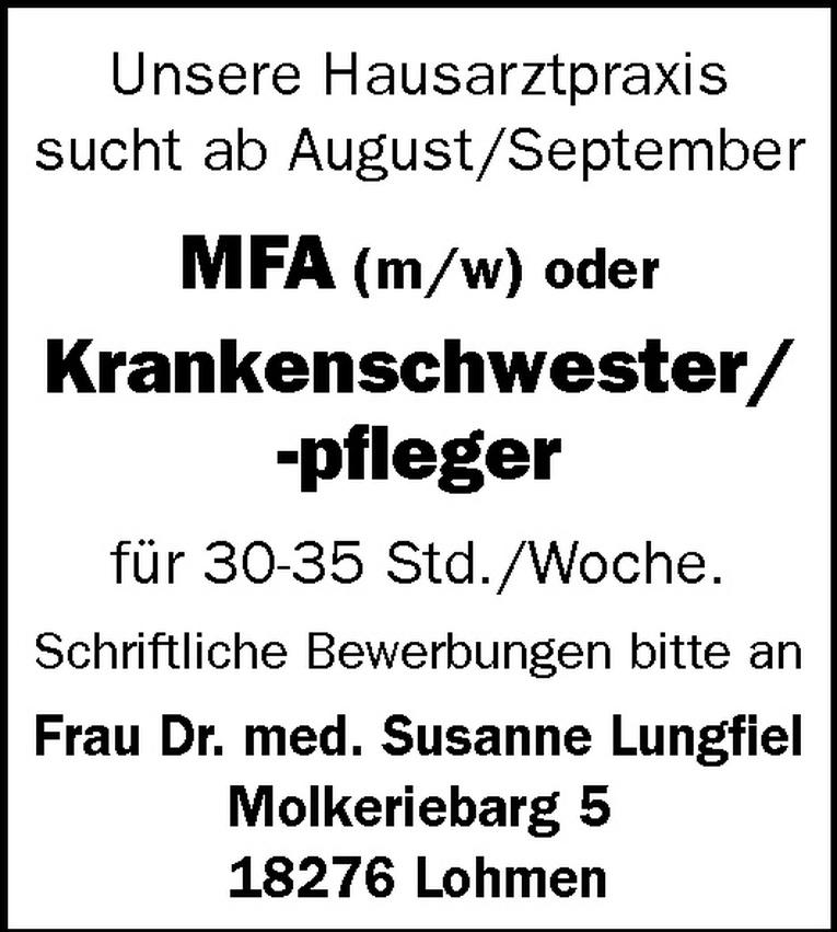 MFA (m/w) / Krankenschwester/-pfleger