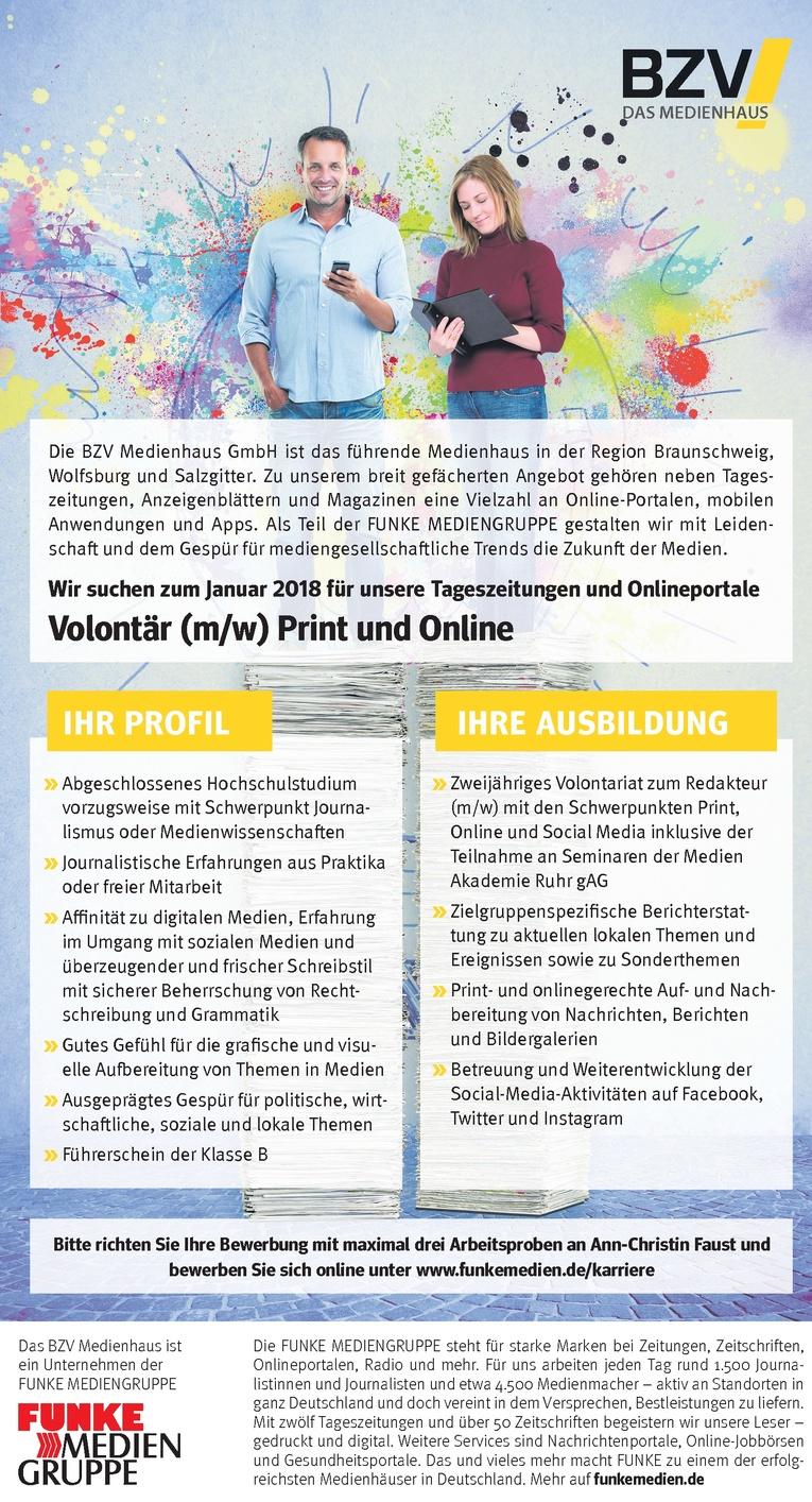 Volontär Print- und Online (m/w)