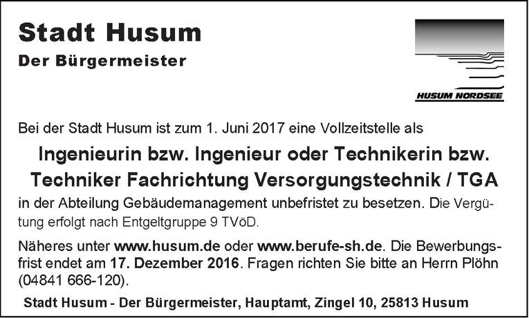 Ingenieurin bzw. Ingenieur oder Technikerin bzw. Techniker Fachrichtung Versorgungstechnik / TGA