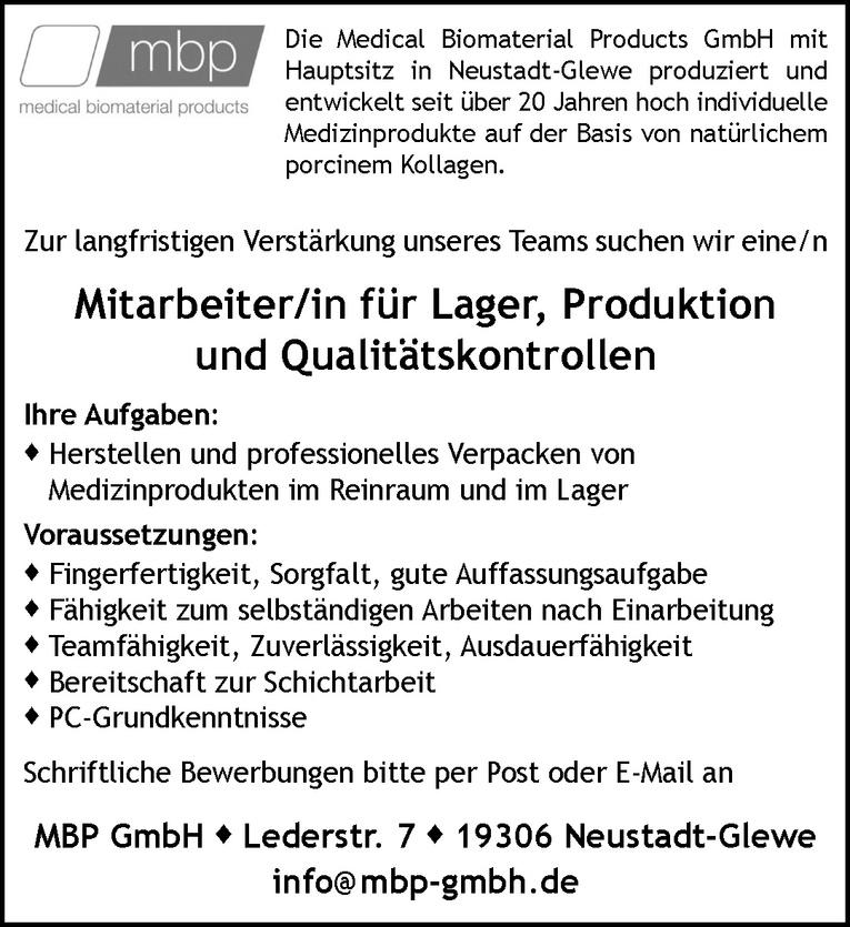 Mitarbeiter/in für Lager, Produktion und Qualitätskontrollen