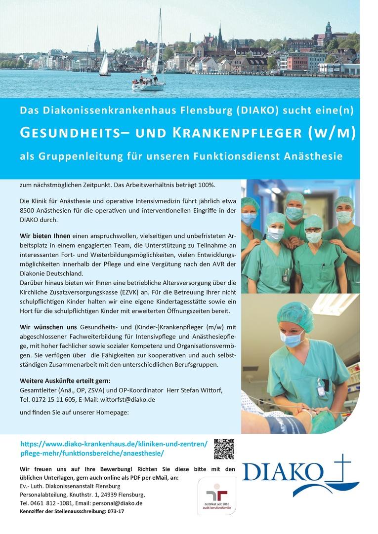 Gesundheits- und Krankenpfleger (w/m) als Gruppenleitung für unseren Funktionsdienst Anästhesie
