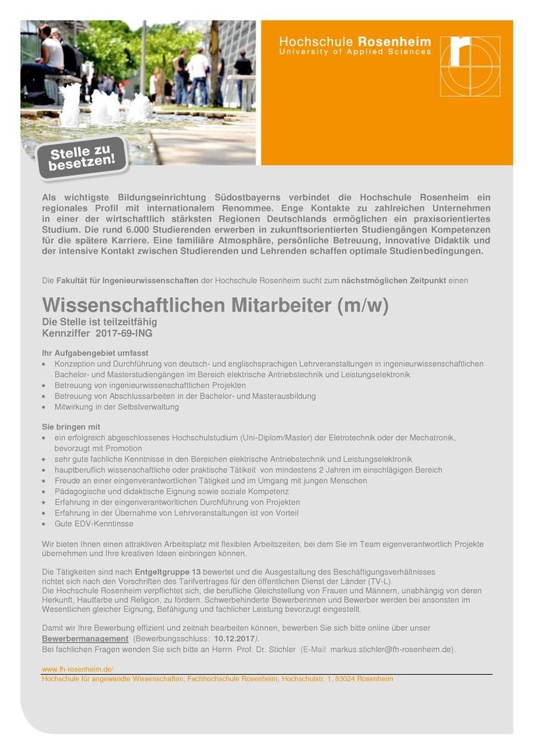 Wissenschaftlichen Mitarbeiter (m/w) - Ingenieurwissenschaften
