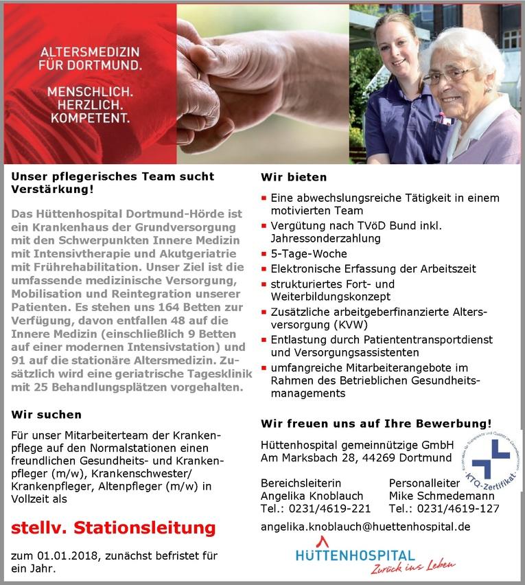 stellvertretende Stationsleitung (w/w) im Hüttenhospital