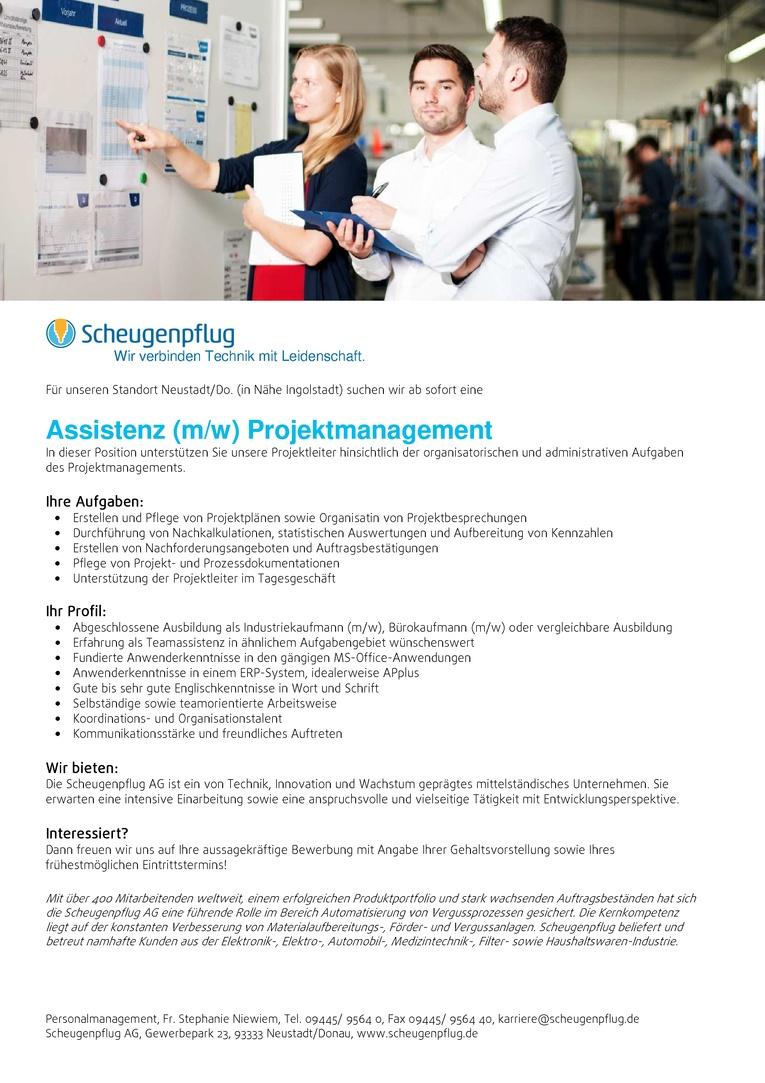 Assistenz (m/w) Projektmanagement