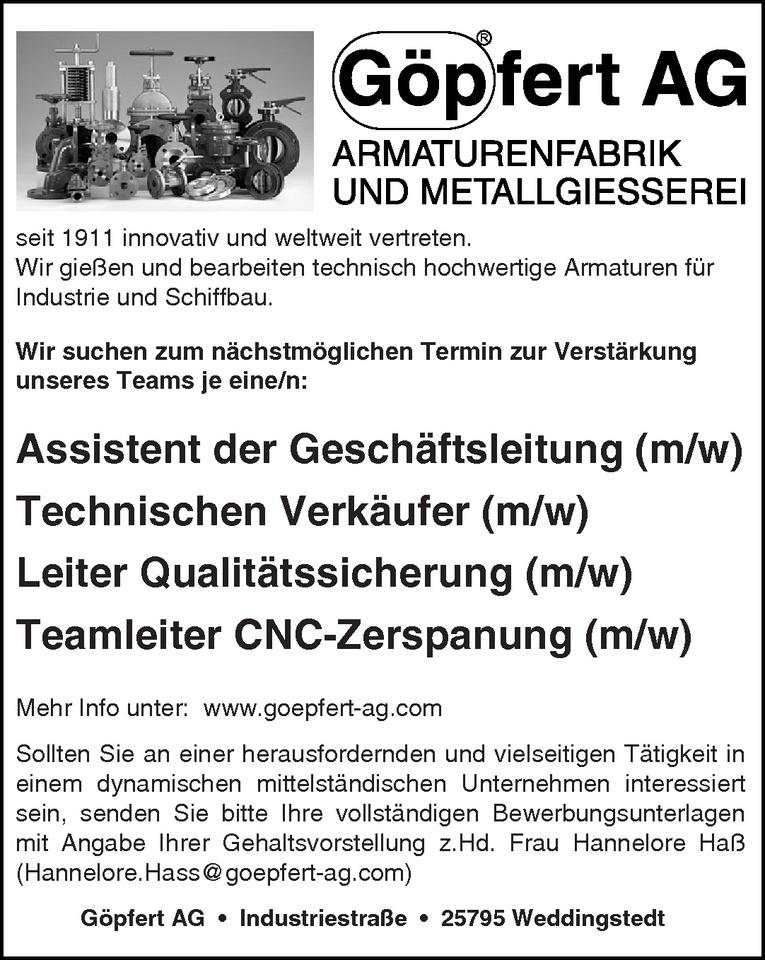 Leiter Qualitätssicherung (m/w)