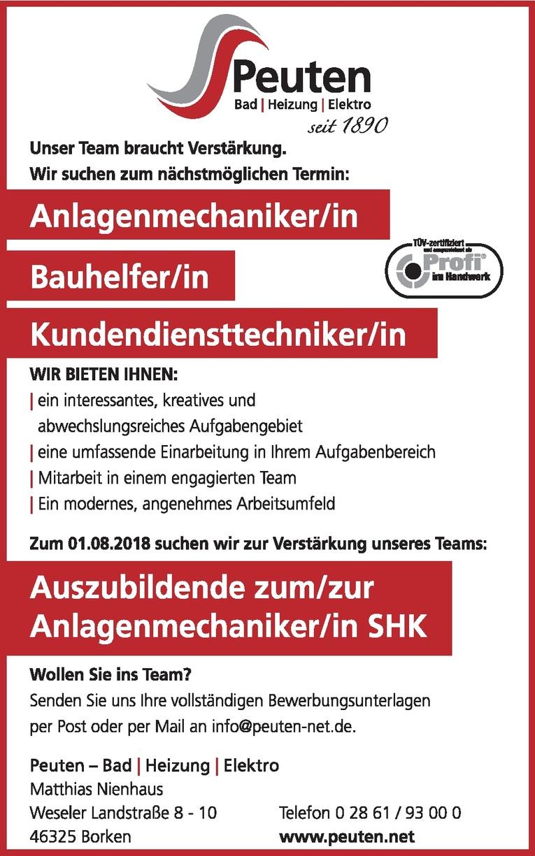 Auszubildende/r zum/zur Anlagenmechaniker/in SHK