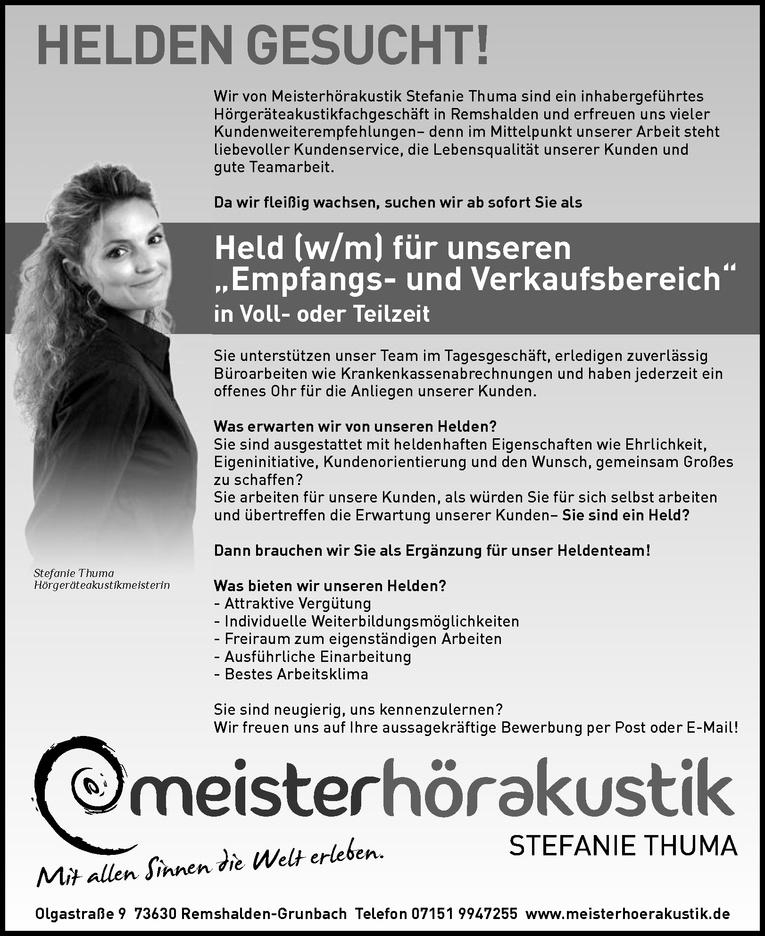 """Held (w/m) für unseren """"Empfangs- und Verkaufsbereich"""" in Voll- oder Teilzeit"""