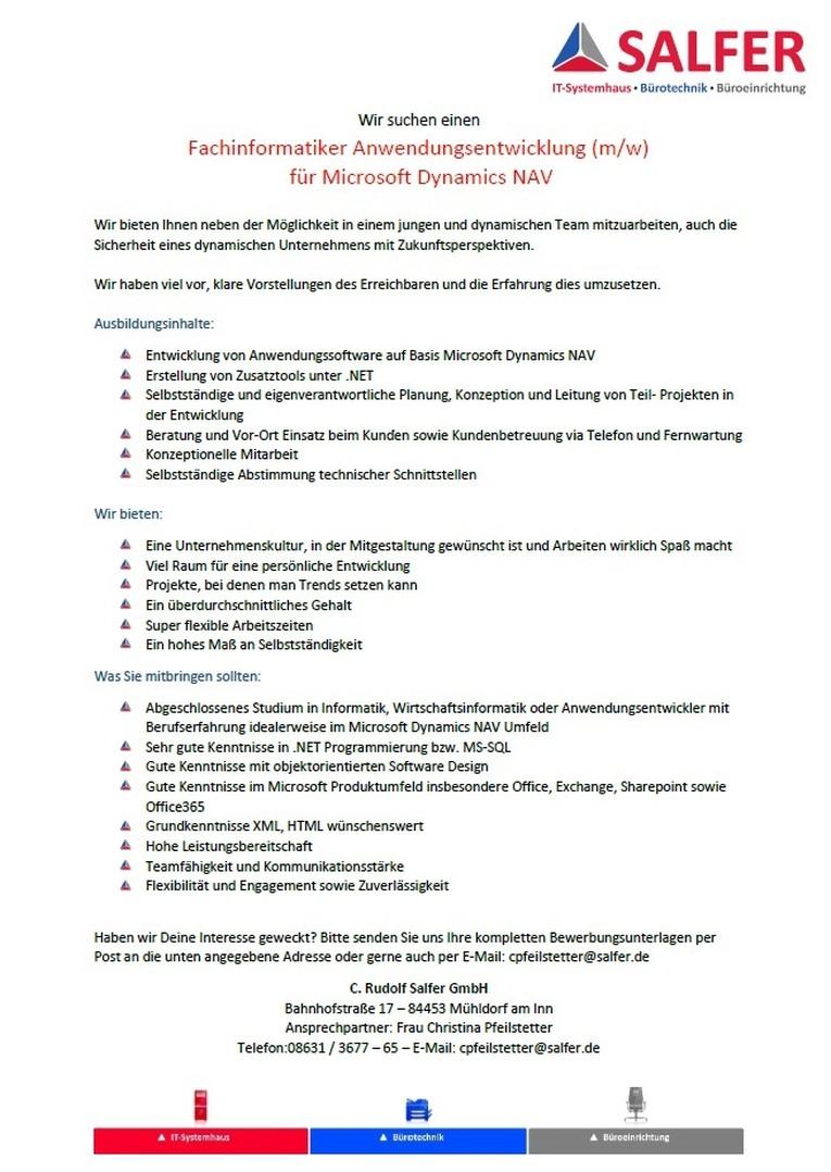 Fachinformatiker Anwendungsentwicklung (m/w)