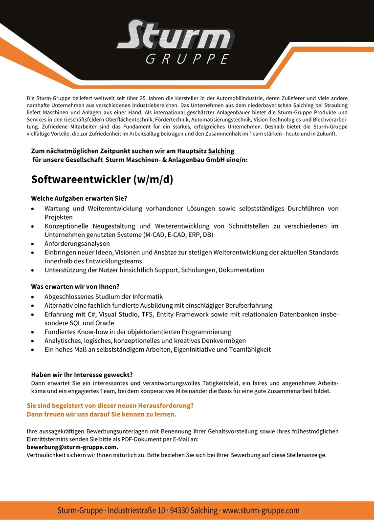 Job Softwareentwickler Wmd