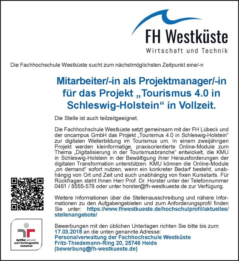 """Mitarbeiter/-in als Projektmanager/-in für das Projekt """"Tourismus 4.0 in Schleswig-Holstein"""""""