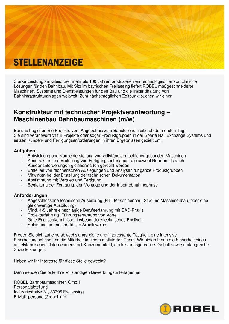 Konstrukteur (m/w) mit technischer Projektverantwortung – Maschinenbau Bahnbaumaschinen