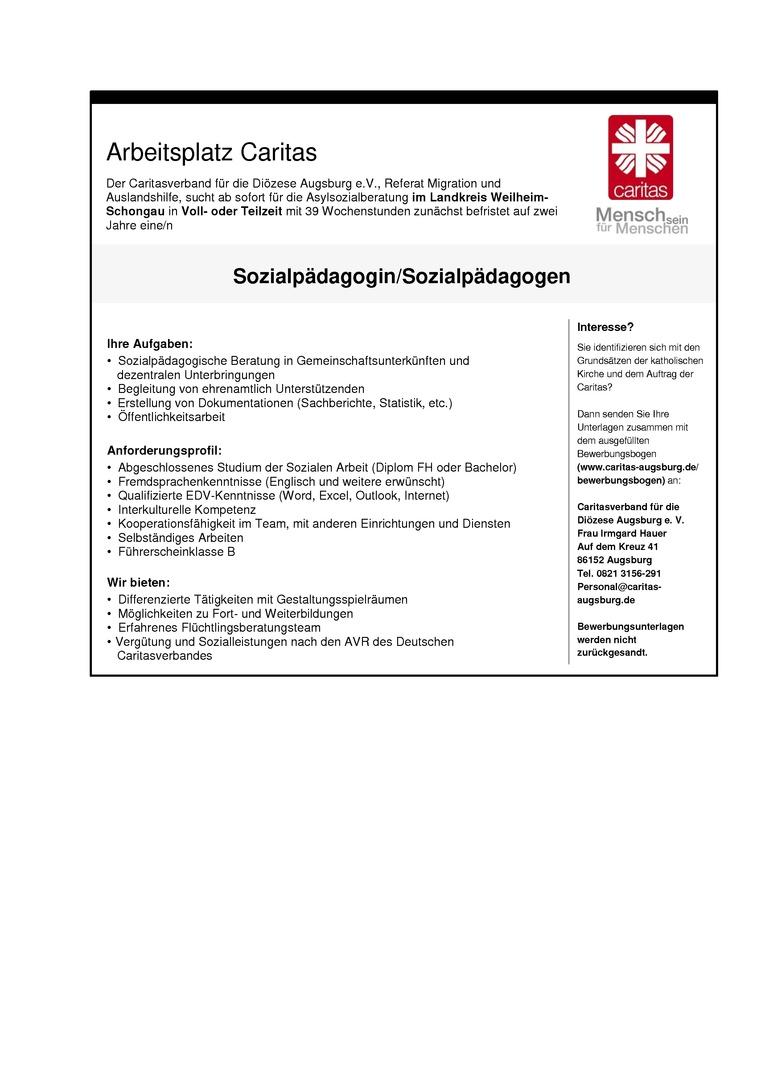 Sozialpädagogin/Sozialpädagoge Asylsozialberatung