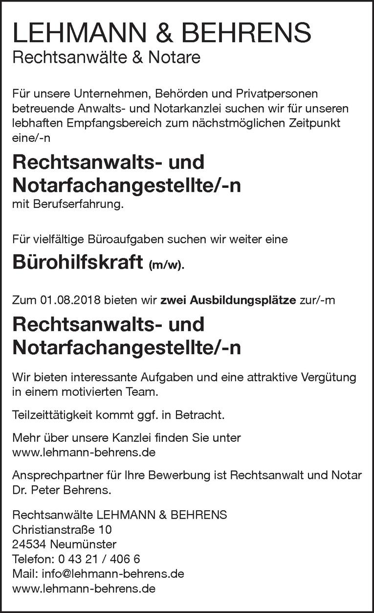 Rechtsanwalts- und Notarfachangestellte/-n