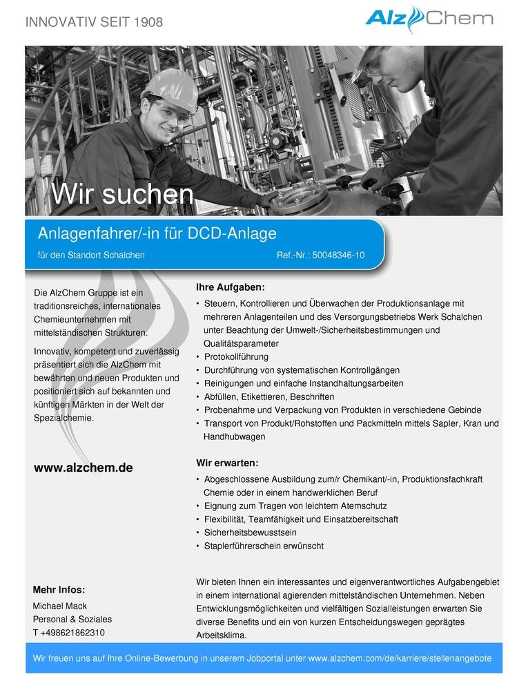 Anlagenfahrer/-in für DCD-Anlage