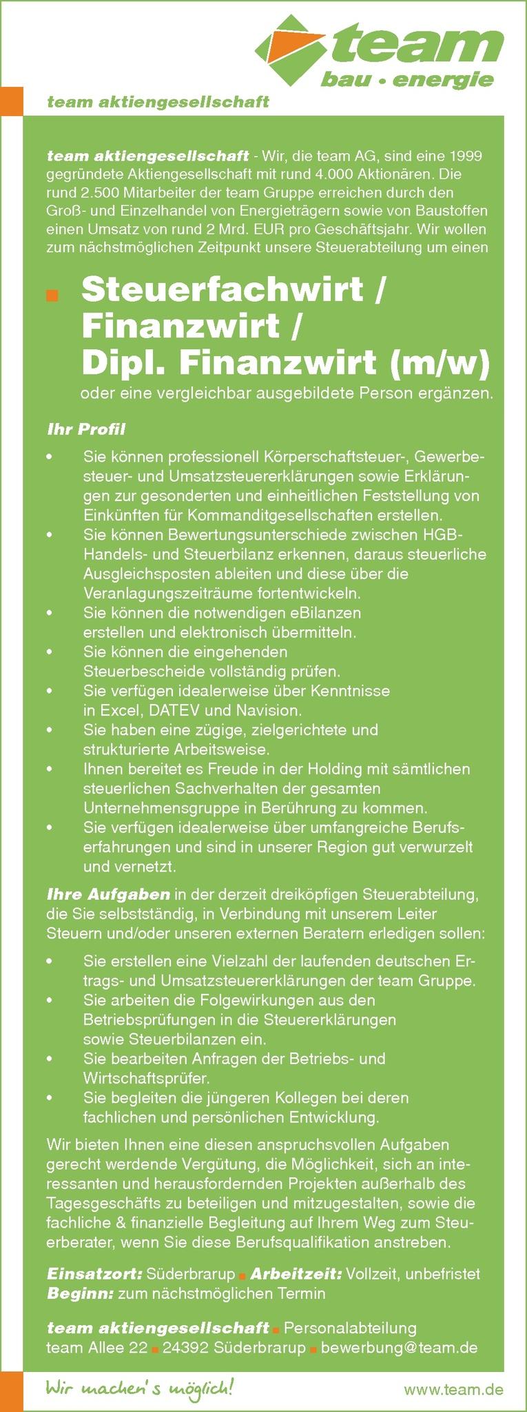 Steuerfachwirt / Finanzwirt / Dipl. Finanzwirt (m/w)
