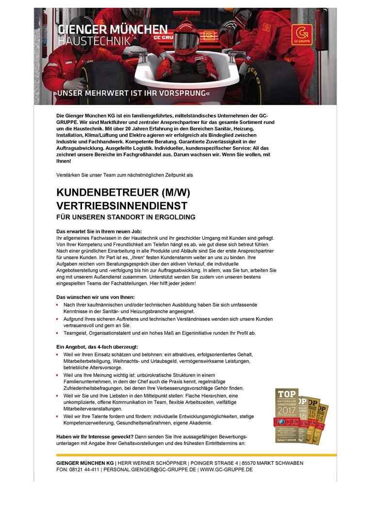 KUNDENBETREUER (M/W) VERTRIEBSINNENDIENST