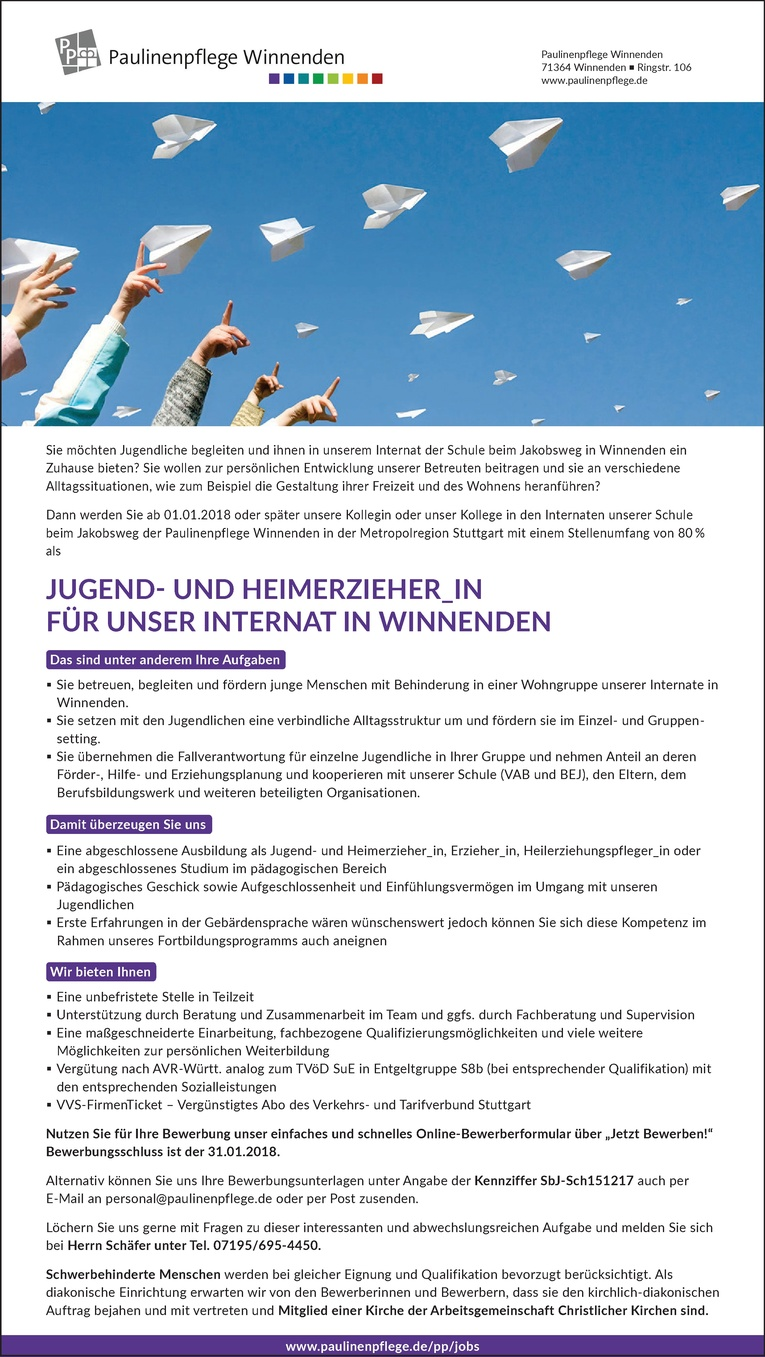Jugend- und Heimerzieher_in für unser Internat in Winnenden