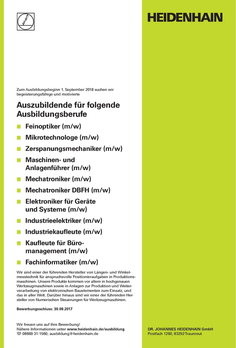 Ausbildung zum Zerspanungsmechaniker (m/w) zum Ausbildungsbeginn 1. September 2018