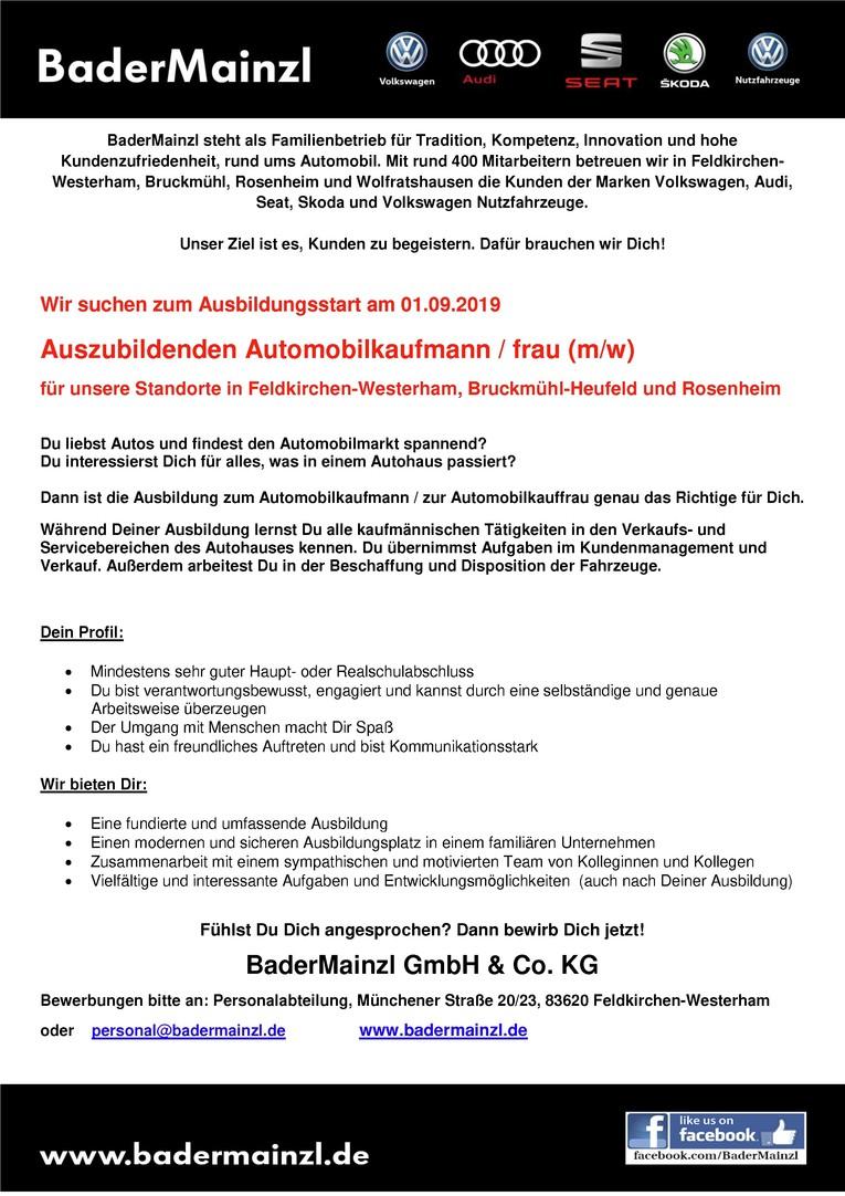 Job Azubi 2019 Automobilkaufmann Automobilkauffrau