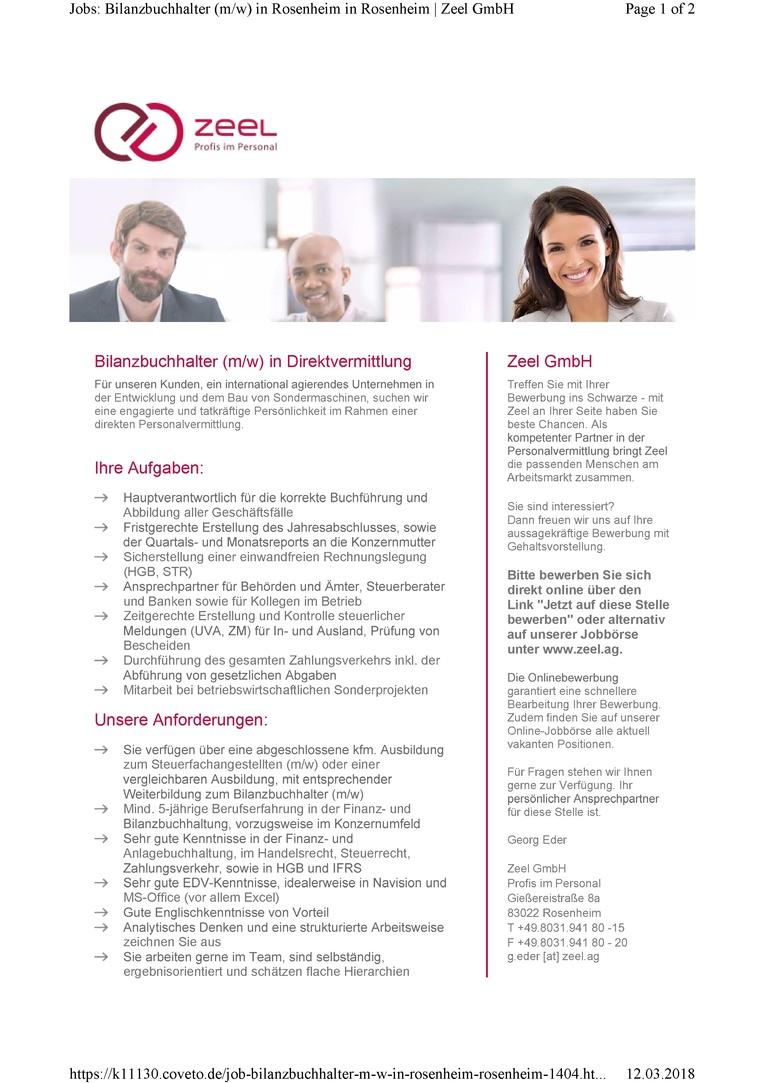 Bilanzbuchhalter (m/w) zur direkten Personalvermittlung