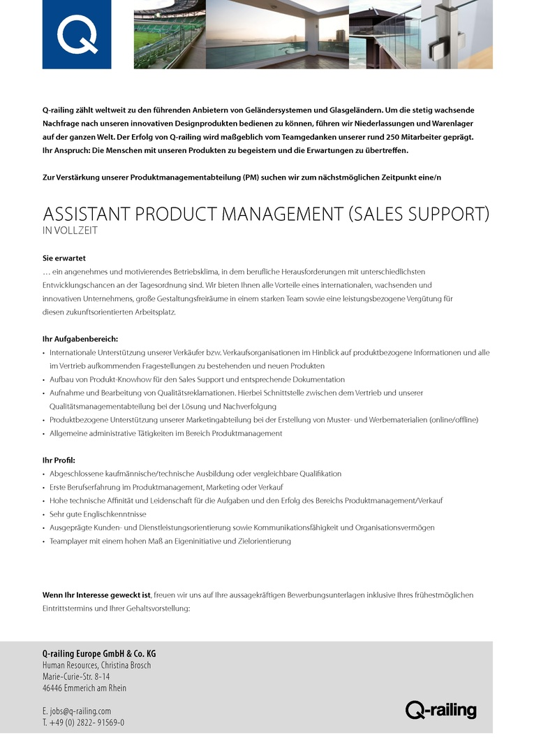 Assistant Product Management (Sales Support) m/w