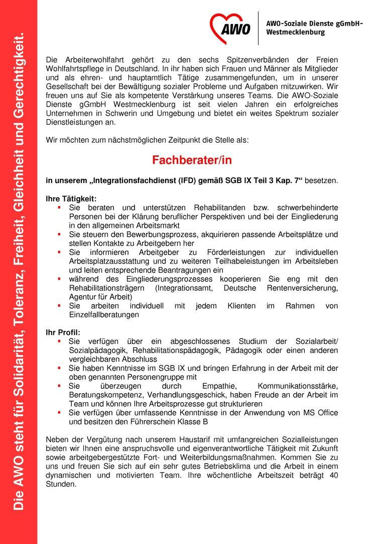 """Sozialpädagoge/in im """"Integrationsfachdienst (IFD) gemäß SGB IX Teil 3 Kap. 7"""""""