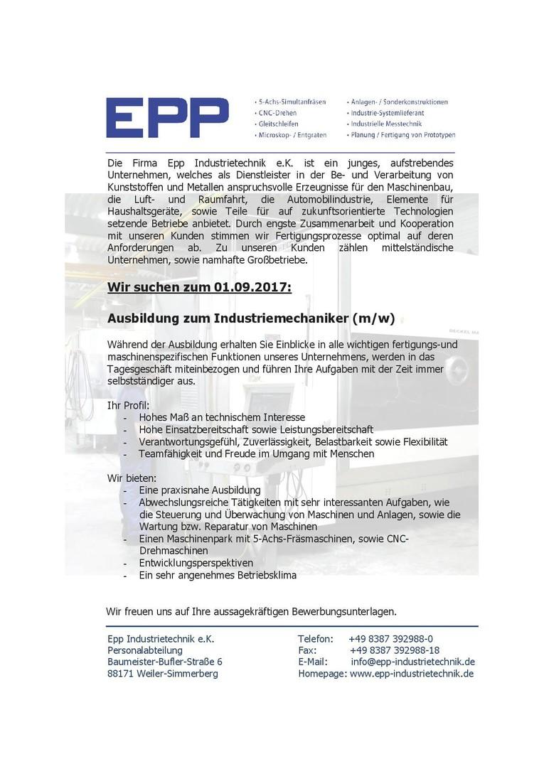 Ausbildung zum Industriemechaniker (m/w) 2017