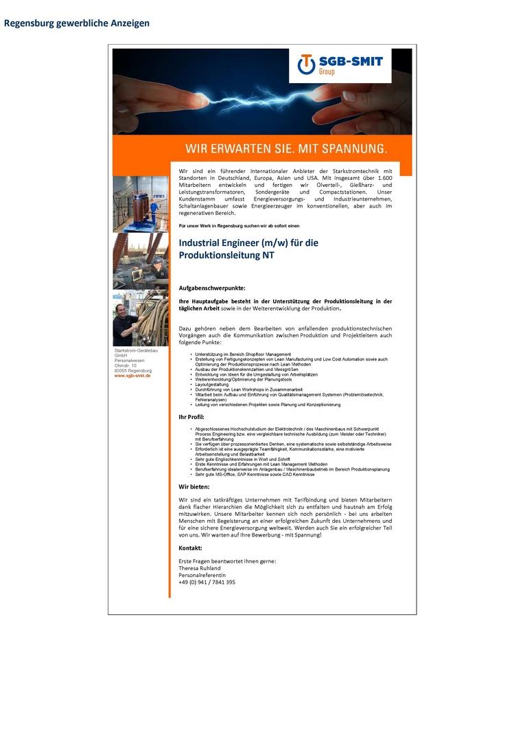 Industrial Engineer (m/w) für die Produktionsleitung Netztransformatoren