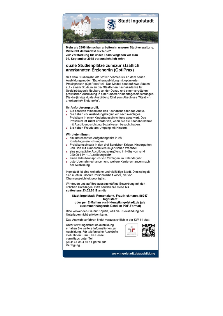 duale Studienplätze zum/zur staatlich anerkannten Erzieher/in (OptiPrax)