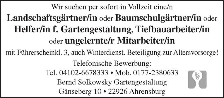 Landschaftsgärtner/in oder Baumschulgärtner/in oder Helfer/in f. Gartengestaltung