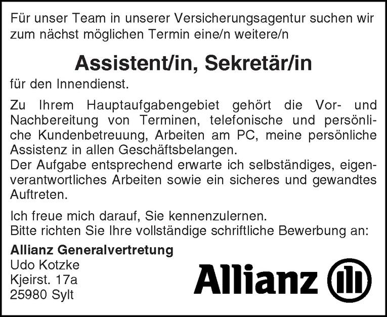Assistent/in Sekretär/in
