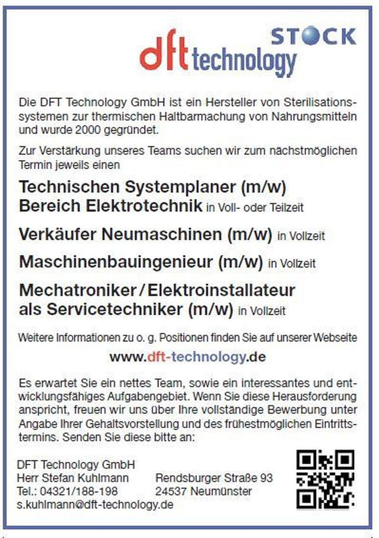 Technischen Systemplaner (m/w) .  Verkäufer Neumaschinen (m/w) .  Maschinenbauingenieur (m/w) .  Mechatroniker / Elektroinstallateur als Servicetechniker (m/w)