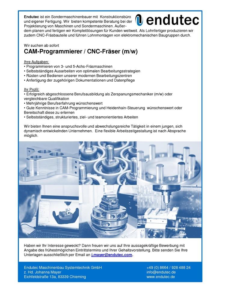 CAM-Programmierer / CNC-Fräser (m/w)