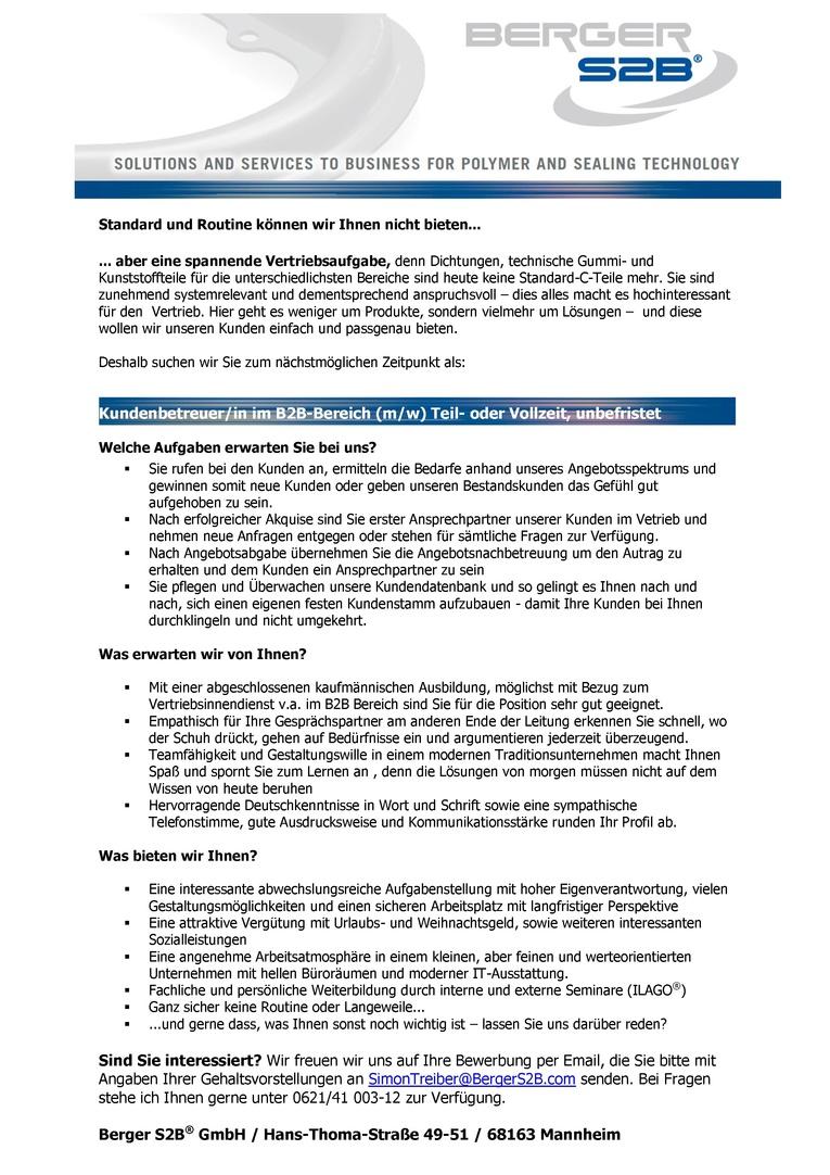 Kundenbetreuer/in B2B (m/w) Teil- oder Vollzeit, unbefristet