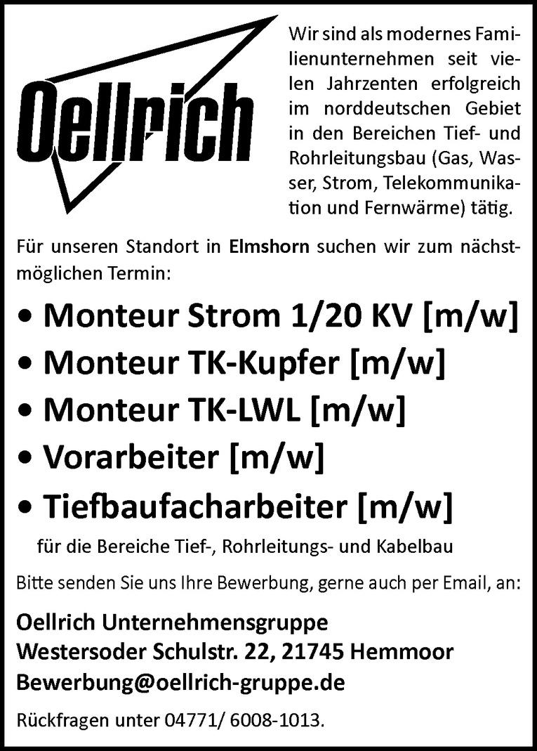 Monteur Strom 1/20 KV (m/w)