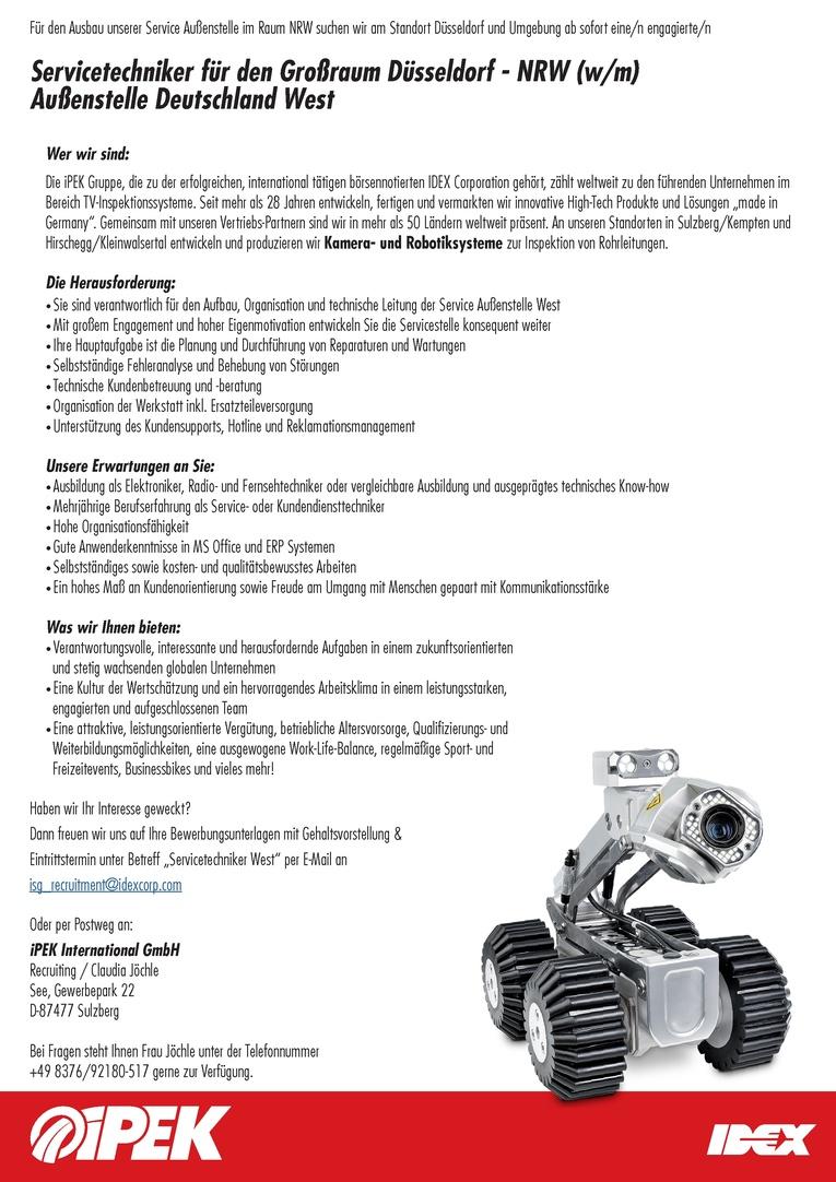 Servicetechniker für den Großraum Düsseldorf - NRW (m/w) - Außenstelle Deutschland West