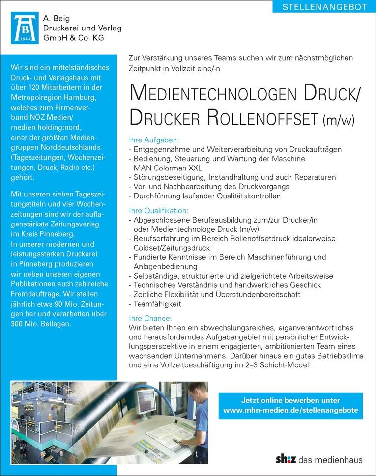 Medientechnologen Druck/ Drucker Rollenoffset (m/w)