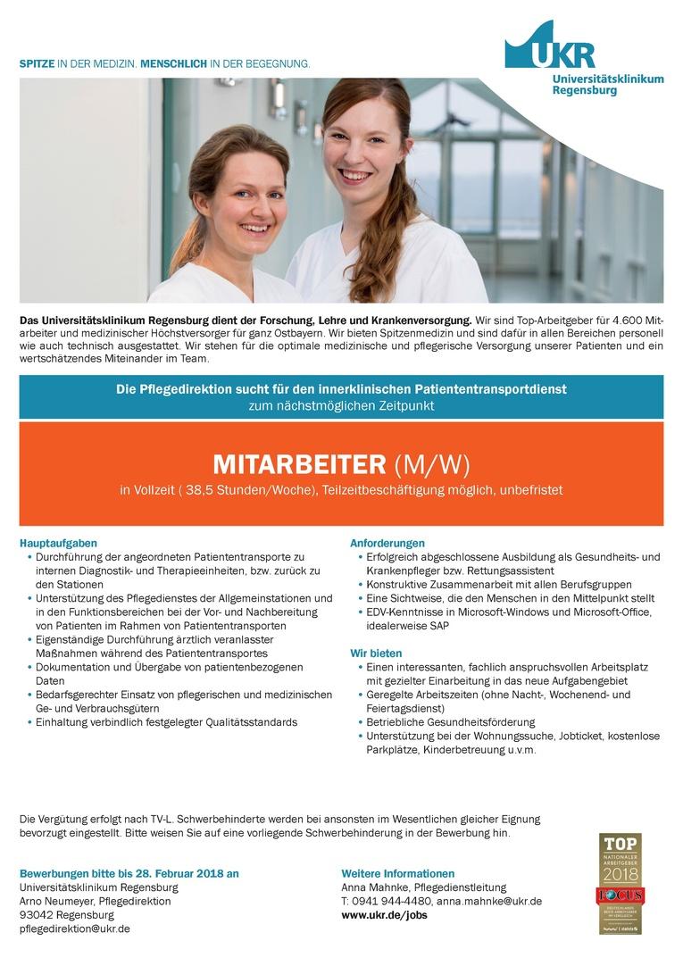MITARBEITER (M/W) für den innerklinischen Patiententransportdienst