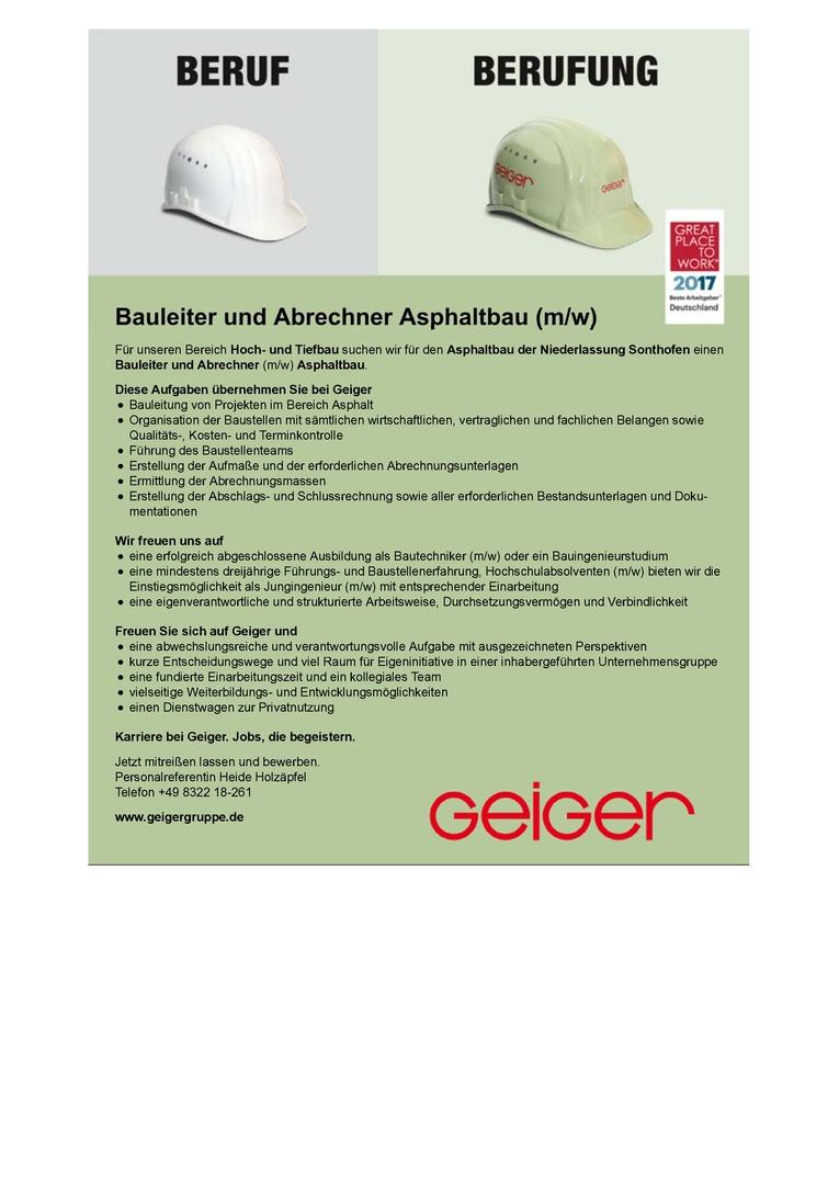 Bauleiter und Abrechner Asphaltbau (m/w)