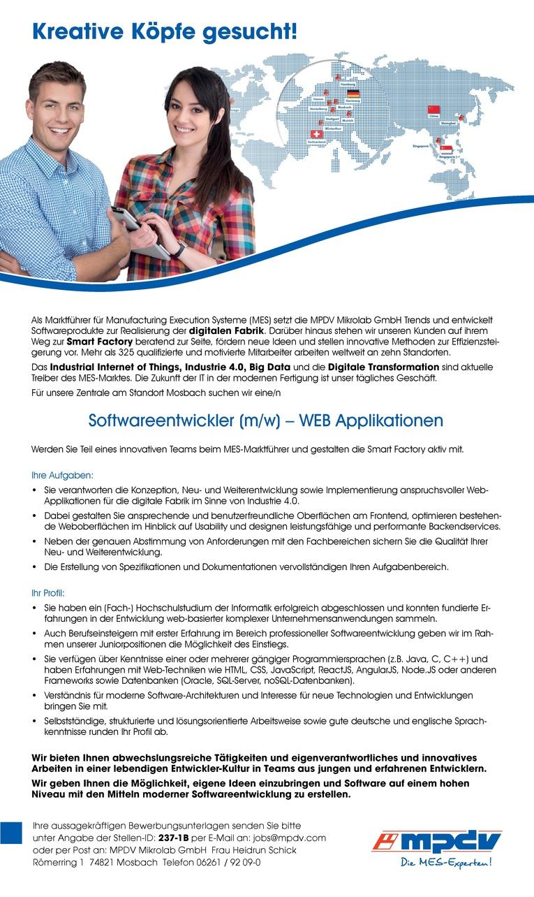 Softwareentwickler (m/w) WEB Applikationen