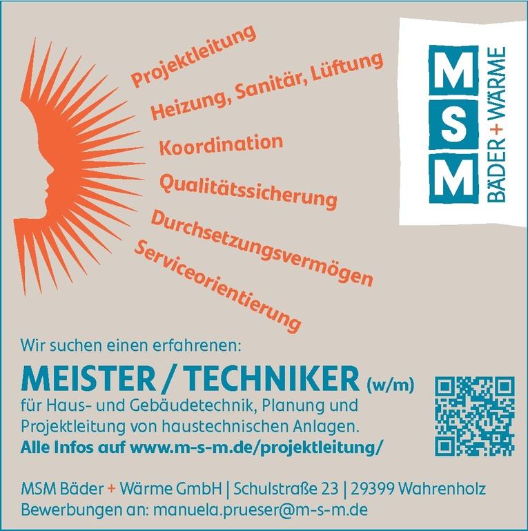 MEISTER / TECHNIKER (w/m)