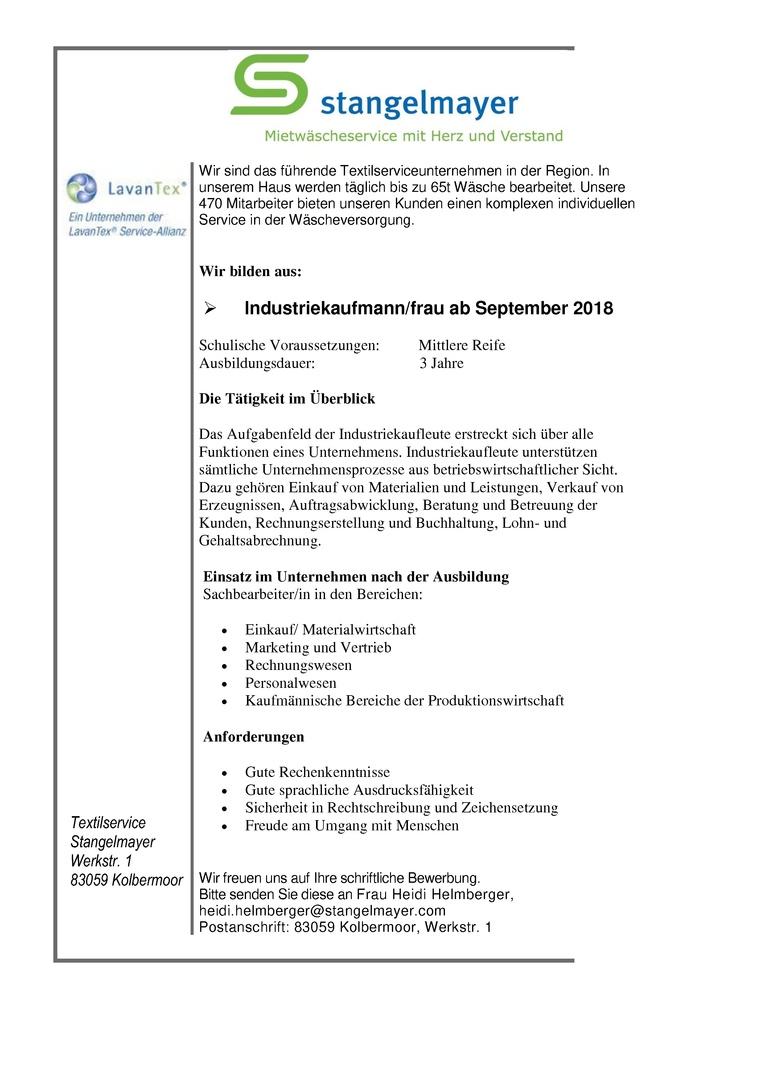 Auszubildende zum/r Industriekaufmann/frau m/w ab September 2018