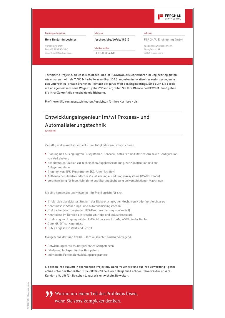 Entwicklungsingenieur (m/w) Prozess- und Automatisierungstechnik