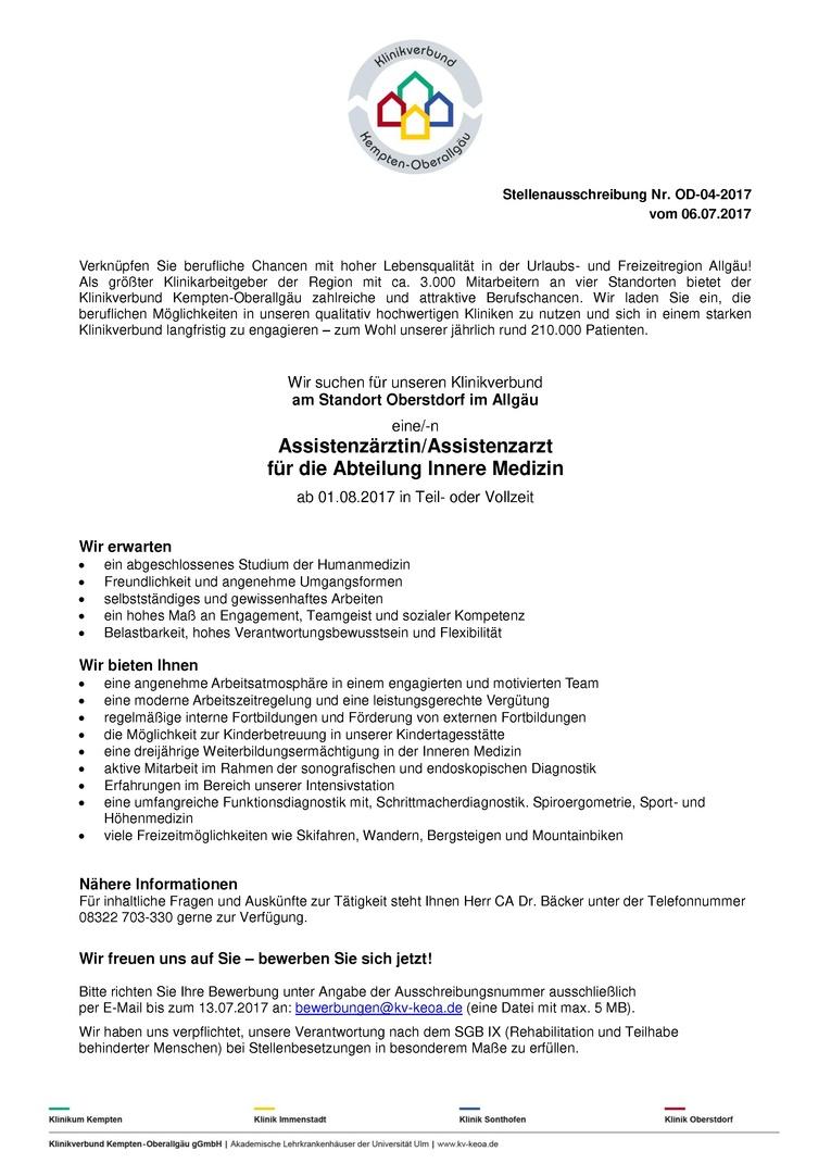 Assistenzärztin/Assistenzarzt für die Abteilung Innere Medizin