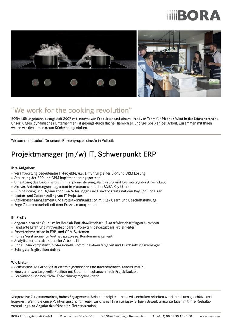 Projektmanager (m/w) IT, Schwerpunkt ERP