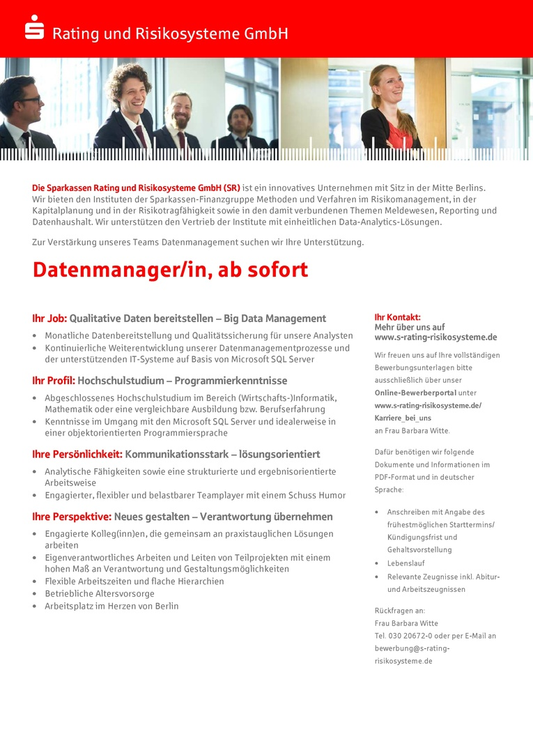 Datenmanager/in, ab sofort