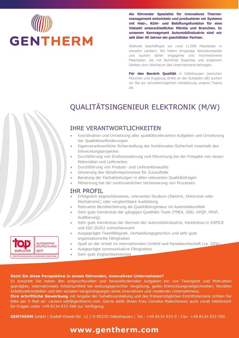 Qualitätsingenieur Elektronik (m/w)