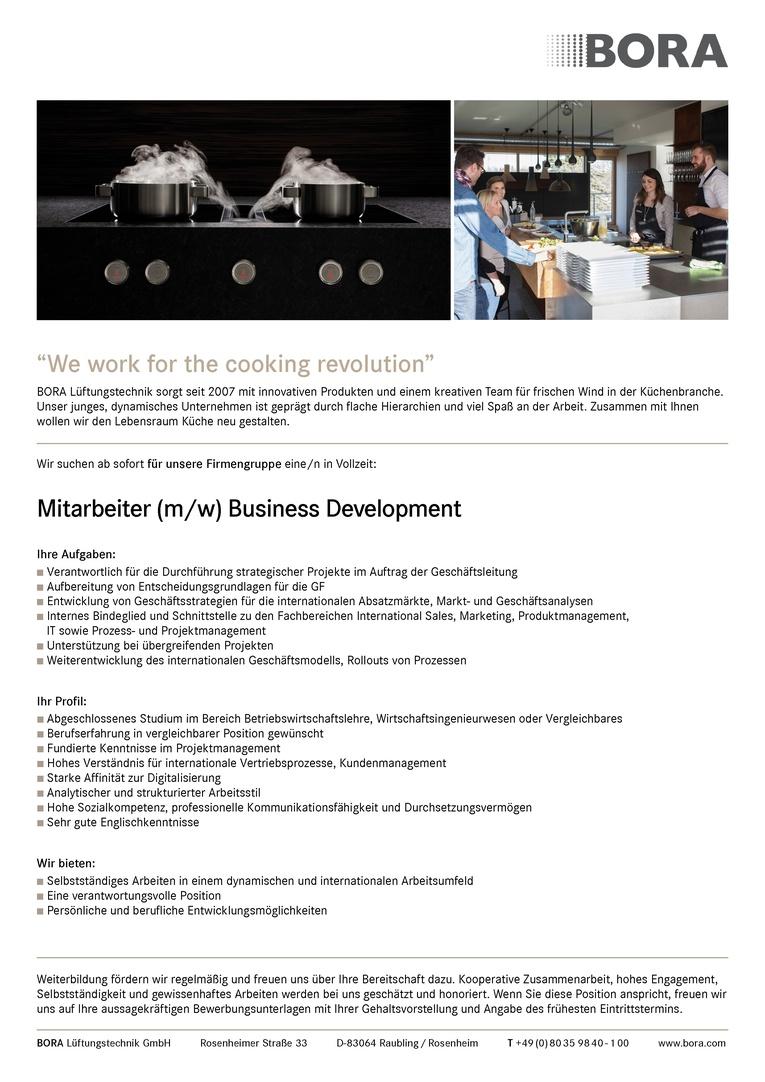 Mitarbeiter (m/w) Business Development