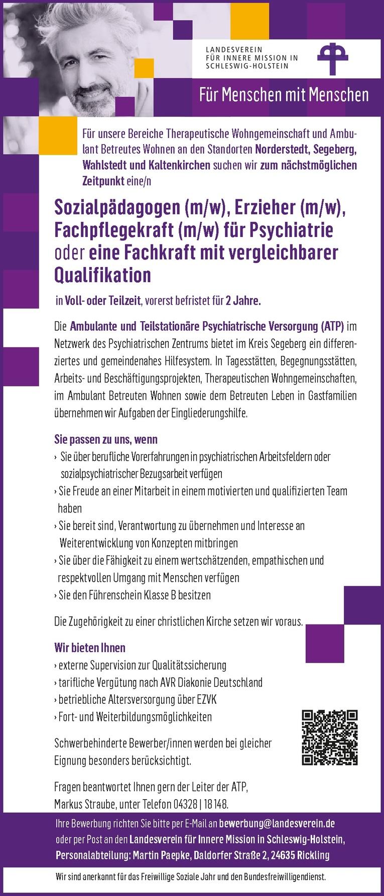 Sozialpädagoge, Erzieher, Fachpflegekraft für Psychiatrie oder eine Fachkraft mit vergleichbarer Qualifikation (m/w)